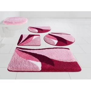 Badematte Magnus my home, Höhe 20 mm, strapazierfähig rosa 2-tlg. Stand-WC Set