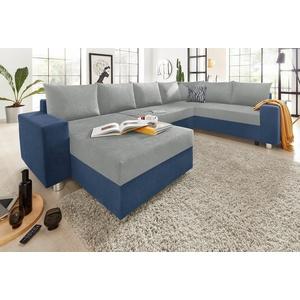 COLLECTION AB Wohnlandschaft, mit Federkern, wahlweise mit Bettfunktion und Bettkasten, inklusive loser Rücken- und Zierkissen, frei im Raum stellbar blau