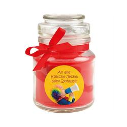 HS Candle Duftkerze (1-tlg), Karneval - Fasching Kerze im Bonbon Glas, Kerze mit Karneval's - Motiv rot Ø 7 cm x 7 cm x 10 cm