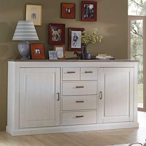 Wohnzimmer Sideboard in Weiß Taupe 200 cm breit