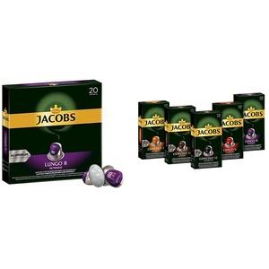 Jacobs Kaffeekapseln Lungo Intenso, Intensität 8 von 12, 200 Nespresso®* kompatible Kapseln, 10 x 20 Getränke & Kaffeekapseln, Probierbox Nespresso®* 5 x 10 Getränke