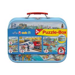 Schmidt Spiele Puzzle-Tasche Metall Puzzlekoffer, Verkehrsmittel, 2x26, 2x48