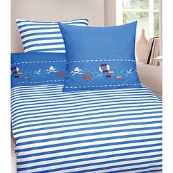 Wende- Kinderbettwäsche Piraten, Cretonne, 135 x 200 cm + 80 x 80 cm blau Gr. 135 x 200 + 80 x 80