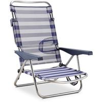 Solenny 50001072725168 Strand-/Liegestuhl, 4 Positionen, Blau und Weiß, mit Tragegriffen und klappbarem Bein an der Rückenlehne
