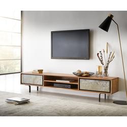 DELIFE TV-Board Juwelo, 200x35x40cm Akazie Natur Stein 2 Türen 200 cm x 40 cm x 35 cm