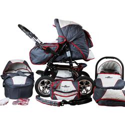 bergsteiger Kombi-Kinderwagen Milano, grey & red stripes, 3in1, (10-tlg), Made in Europe; Kinderwagen