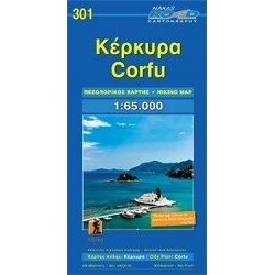 Korfu (Corfu) + Stadtplan 1 : 65 000