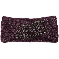 styleBREAKER Stirnband Strick Stirnband mit Twist Knoten und silbernen Perlen Strick Stirnband mit Twist Knoten und silbernen Perlen lila