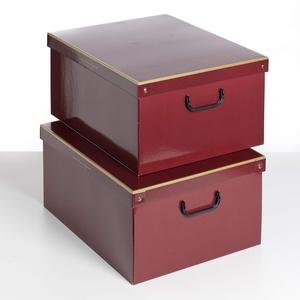 Kanguru la coperta con le maniche SET MIT 2 STÜCK Aufbewahrungsbox aus Karton, groß, Modell ROT BORDEAUX, 623 BOAZ