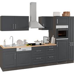 HELD MÖBEL Küchenzeile Stockholm, ohne E-Geräte, Breite 280 cm, mit hochwertigen MDF Fronten im Landhaus-Stil grau