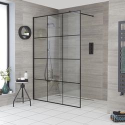 Walk-In Dusche, mit Gittermuster, Duschwand und Ablauf wählbar - Barq