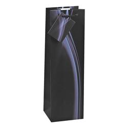 Flaschen-Geschenktasche schwarz, TSI, 10x33x9 cm