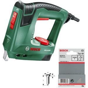 Bosch Elektrotacker PTK 14 EDT, 1000 Klammern, Karton (30 min-1 Schläge, Nägel: 14 mm, 1,1 kg) + Nägel 14 mm