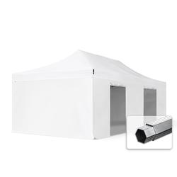 Toolport Faltpavillon 4x8m Long-Life PVC 620 g/m² weiß wasserdicht Faltzelt, Klappzelt
