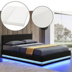 ArtLife Polsterbett Toulouse 180 x 200cm mit LED, Bettkasten und Kaltschaummatratze - schwarz