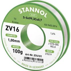 Stannol ZV16 Lötzinn, bleifrei bleifrei Sn0.7Cu 100g 1mm
