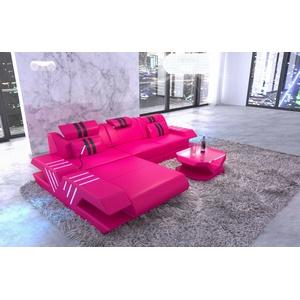 Couch Ecksofa Modern VENEDIG L Form Leder Design Sofa Ottomane LED Pink Schwarz