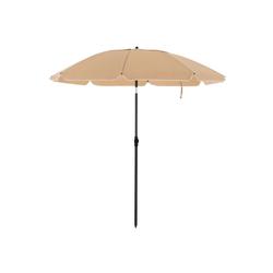 SONGMICS Sonnenschirm GPU60BR GPU60WTV1, Gartenschirm für Strand, Ø 160 cm, UPF 50+, Schirmrippen aus Glasfaser braun