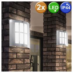 etc-shop LED Wandleuchte, 2x LED Außen Bereich Wand Leuchten Grundstück Strahler Edelstahl Park Strahler
