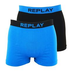 Replay Boxershorts Seamless Cuff Logo im 2er Pack blau L