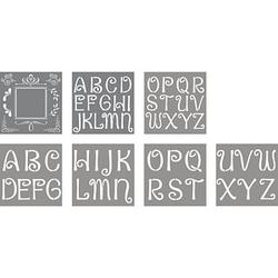 Rayher Dekor-Schablonen Buchstaben und Design grau