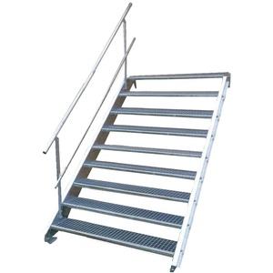 Stahltreppe Industrietreppe Aussentreppe Treppe 9 Stufen-Breite 100cm Variable Geschosshöhe 135-180cm mit einseitigem Geländer