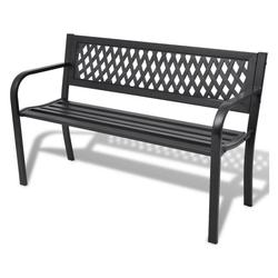PHOEBE CAT Gartenbank, 2-Sitzer Gartenbank Parkbank Balkonbank Sitzbank aus Stahl und PVC Schwarz, 118 x 50 x 75 cm schwarz
