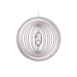 ILLUMINO Windspiel Edelstahl Windspiel Circolo -L mit klarer 30mm Kristalldiamant Metall Windspiel für Garten und Wohnung Gartendeko Wohn und Fenster Deko