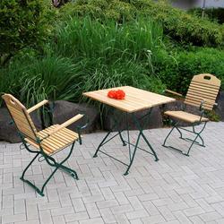 Klappbare Gartenmöbel aus Robinie Massivholz Stahl (3-teilig)