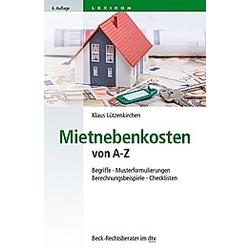 Mietnebenkosten von A - Z. Klaus Lützenkirchen  - Buch