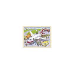 goki Puzzle Holzpuzzle 96 Teile Auf dem Flughafen, Puzzleteile
