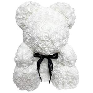Loozykit 25cm Rose Teddybär Rosenbär, handgemachte Rose Blumenbär mit Schleife, künstliche Blume Rosenbär, Forever Rose für Valentinstag, Jubiläum, Hochzeit, Geburtstag (Rosenbär-Weiß)