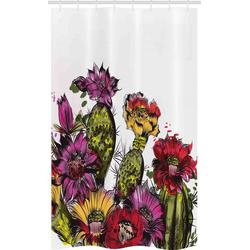 Abakuhaus Duschvorhang Badezimmer Deko Set aus Stoff mit Haken Breite 120 cm, Höhe 180 cm, Kaktus Topfpflanze Blüte
