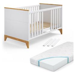 VitaliSpa® Kinderbett Babybett Malia Gitterbett Beistellbett Jugendbett 140x70cm + Matratze