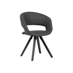 Lomadox Küchenstuhl, Esszimmerstuhl Schwarz Stoff mit schwarzen Beinen Retro Stuhl B/H/T ca. 56/80/50cm