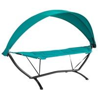 SoBuy Hängematte mit Gestell Hängemattengestell mit Sonnendach Hängemattenhalter Outdoor Belastbarkeit 150kg blau
