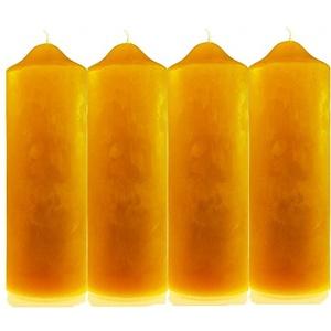 4 Stk. Kerzenstumpen (200/65mm) 100% Bienenwachs Stumpen Bienenwachskerzen Adventskerzen