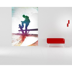 Bilderdepot24 Fototapete, Fototapete Grungy Skateboarder, selbstklebendes Vinyl bunt 0.65 m x 1 m