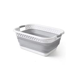 SOSmart24 Wäschekorb SOSmart24 SO SMART Faltbarer Wäschekorb eckig aus Plastik - Weiß Grau - 28 L Volumen - Wäschesammler faltbar klappbar Aufbewahrungsbox Camping Laundry basket Plastikwanne Waschkorb groß klein tragbar
