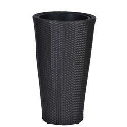 Polyrattan Blumenkübel Aluminium, Polyrattan