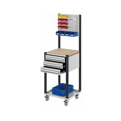 Mobile Arbeitsstation RAL 7035/7016, 1730 x 500 x 500 mm, 3 Schublade