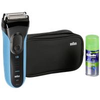 Braun Series 3 ProSkin 3040s blau + Travel Pouch + Gillette Gel Geschenkset