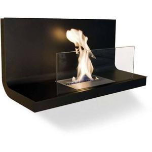 Radius Design Wall Flame 1 Ethanol Kamin Gestell schwarz, Edelstahlplatte schwarz