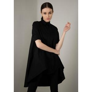 IMPERIAL Klassische Bluse IMP-C ED3ABF glockenförmige Long-Form schwarz S