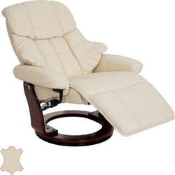 MCA Relaxsessel Windsor 2, Fernsehsessel Sessel, Echtleder 150kg belastbar ~ creme, Walnuss-Optik