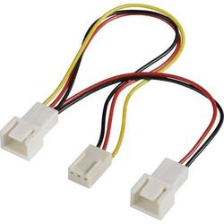 Akasa PC-Lüfter Y-Kabel [2x PC-Lüfter Stecker 3pol. - 1x PC-Lüfter Buchse 3pol.] 15.00cm Schwarz,