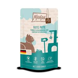 MjAMjAM - Premium Nassfutter für Katzen - Quetschie - purer Fleischgenuss - Gute Pute 12x 125g