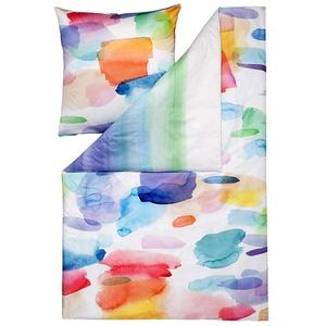 ESTELLA Bettwäsche Splash | Multicolor | 155x220 + 80x80 cm | Mako-Satin mit seidigem Glanz | trocknerfest | atmungsaktiv und anschmiegsam | 100% Baumwolle