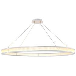 Casa Padrino Luxus LED Kronleuchter Silber / Weiß Ø 139 cm - Moderner runder Kronleuchter - Wohnzimmer Kronleuchter - Hotel Kronleuchter