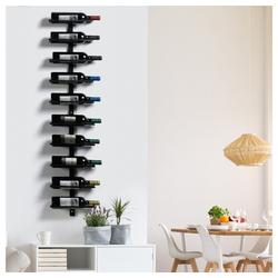 Yaheetech Weinregal, 1-tlg., Flaschenregal für 10 Flaschen, Flaschenhalter aus Metall, Wandregal